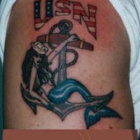 Usa navy mermaid on anchor  tattoo