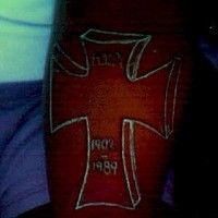 Gravestone glowing tattoo