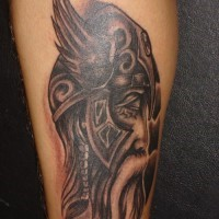 Viking warrior on winged helmet tattoo