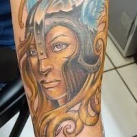 Beautiful blonde viking female warrior on tattoo