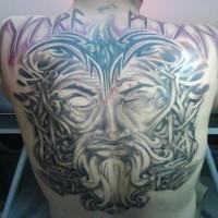 Wiking-Krieger mit blindem Auge Tattoo am ganzen Rücken