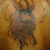 Shaggy viking warrior in horned helmet tattoo