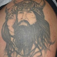 Tattoo of viking warrior with his wife
