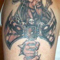 Tattoo of brave viking warrior with big axe