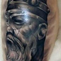 Dark black ink viking tattoo with warrior head