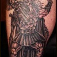 Tattoo of viking warrior attacks with axe