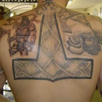 Viking big back tattoo with warrior and hammer