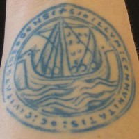 Blue viking curcle tattoo with ship
