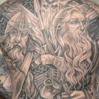 Black viking tattoo on whole back