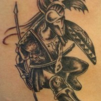 Warrior in armor with bilateral spear tattoo