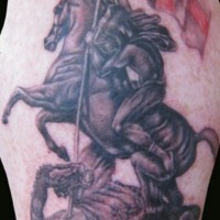 Warrior on horse tattoo with dragon, flag and inscription