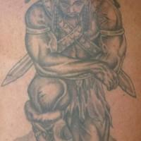 Sad warrior kneeling tattoo on the shoulder
