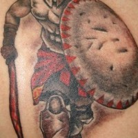 Powerful warrior tattoo decorated with red color
