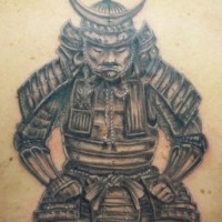 Tattoo of japanese warrior in helmet decorated with new moon