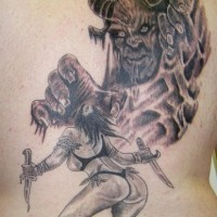 Female warrior fighting with horned monster on tattoo