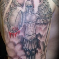 Angel warrior with circle shield in blood tattoo