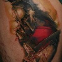Spartan warrior with spear in blood tattoo