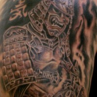 Warrior tattoo of japanese angry dark warrior