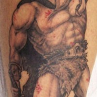Savage warrior with hammer and sword in blood tattoo