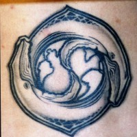 Water animal tattoo with yin yang sign