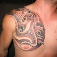 Big octopus tattoo on chest in brown colors