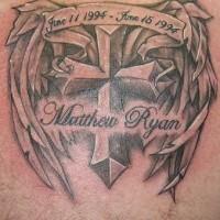 Winged cross memorial tattoo