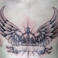 Le tatouage incomplet de couronne aillée