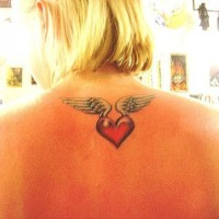 Little wings tattoo with red heart on back neck