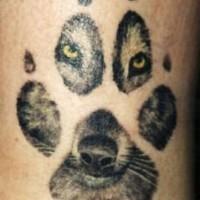 Tatuaggio carino la traccia del lupo & la faccia del lupo