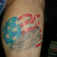 Wolf and american flag tattoo