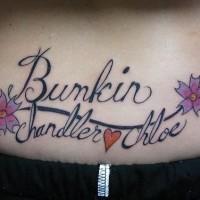 Women lower back tattoo, bunkin, chandler, chloe, styled, heart, flowers