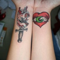 Knife and heart with eye both wrists tattoo
