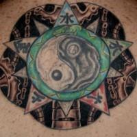 Yin yang tattoo with a hieroglyph