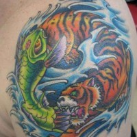 Colorful yin yang tattoo with a fish and a tiger