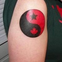 Yin yang tattoo in black & red colors