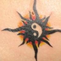 Dark sunny yin yang tattoo