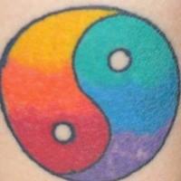 Yin yang tattoo with rainbow colors