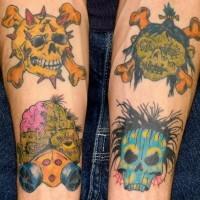 Zombies and skulls tattoo