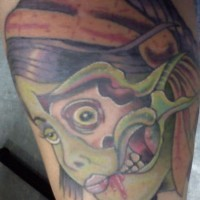 Simple zombie girl tattoo