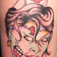 Simple zombie nurse head tattoo