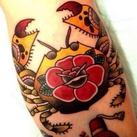 Tattoo arm crab old school with red flower