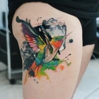 Tattoo von Kolibri im Aquarell von Dopeindulgence