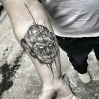 Tattoo painted by Inez Janiak blackwork style forearm tattoo of gorilla head