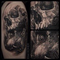 Tattoo painted in 3D style of human skull with evil wolf head