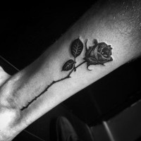 Tender and elegant rose flower leg tattoo
