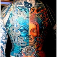 The full Yin Yang Tattoo Designs and meaning on back