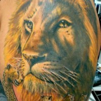 Tatuaggio colorato sul deltoide la faccia di leone re & leopard