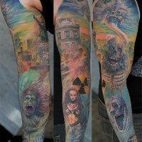 Theme of horror tattoo on full sleeve