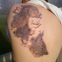 Tatuaggio impressionante sulla schiena i lupi che ululano alla luna