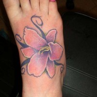 Tiger lily on right foot tattoo
